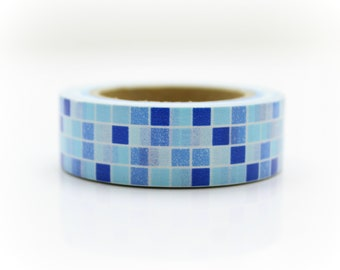 Blue Tiles Washi Tape - Craft Supplies - Planner Stickers - Erin Condren - Scrapbooking - Bujo Journal - Deco Tape - Love My Tapes