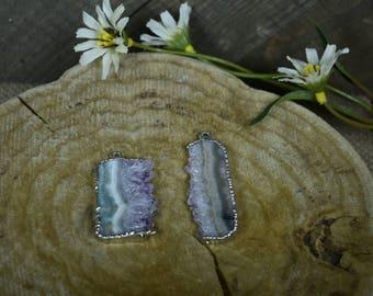 Amethyst Slice & Silver Pendant