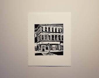 Dundas and Richmond, Linocut, Relief Print, Hand Pulled Print, Black and White Print, Paper, Original Art, London Ontario Art, Canadian Art,