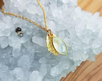 Aqua Chalcedony Necklace - Gold Greek leaf necklace - Gold Blue Aqua Chalcedony Leaf Necklace - Gold Aqua Chalcedony Necklace