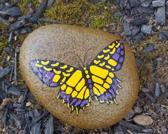 Swallowtail on Stone-Purp&Yel/Butterfly/Butterfly Painting/Wildlife Art/Garden Stone/YardArt/Painted Rock/Home Decor/Gift for Her/UniqueGift