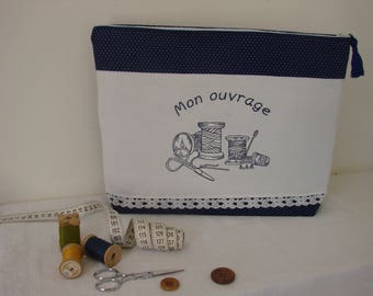 Bag made with Navy Blue book and pretty embroidery stitching on old linen
