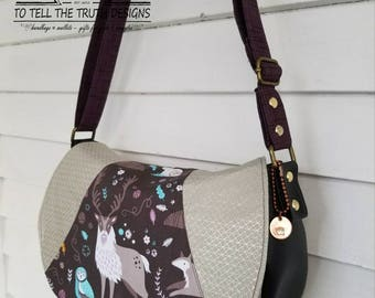 Swoon Rosie, Saddle Bag, Crossbody Bag, Gift For Her, Christmas Gift, Woodland, Purple, Silver, Shiny, Cotton & Steel