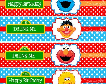 Sesame Street Water Bottle Labels,Sesame Street Birthday Party, Elmo Birthday Party, Digital Sesame Street Labels, INSTANT DOWNLOAD