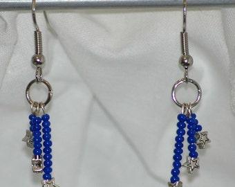 Shooting stars in blue earrings