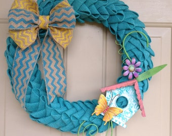 BUILD A WREATH  Steps 1 & 2 Combined, Elegant Turquoise folded burlap petal style, Great Wedding Gift, 9 Interchangeable Seasonal packages