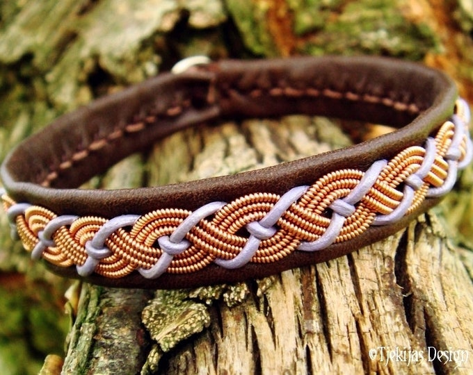 Viking Leather Sami Bracelet VALHAL Copper Braid, Lavender and Brown Leather Cuff with Antler Closure