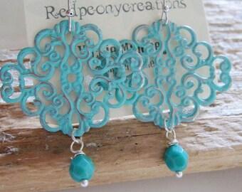 Filigree Earrings, Bohemian, Turquoise Blue, Silver, Diamond Shape, Bridesmaid Earrings, Moroccan, Redpeonycreations