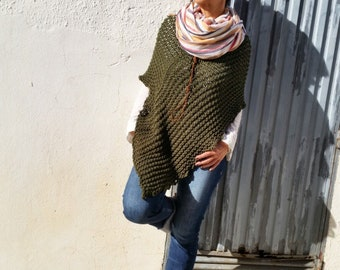 Women ponchos, wool knit poncho, hand knit poncho cape, knit poncho, casual chic style knitwear, loose knit poncho, military green