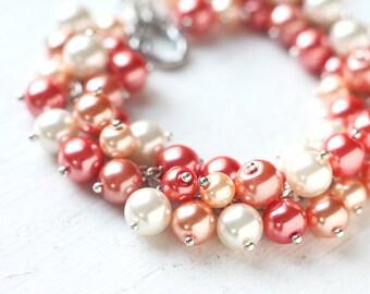 Orange Wedding Bridesmaid Jewelry Pearl Cluster Bracelet - Mandarin