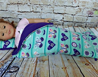 "Mint Green Doll Sleeping Bag with Flowers, Butterflies, and Hearts -- American Made to Fit Your 18"" Girl Doll"