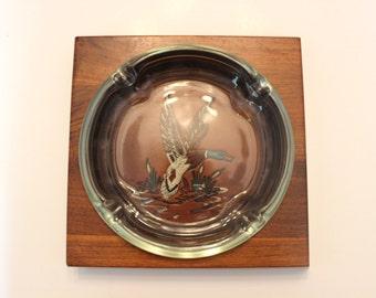 Heavy Walnut Wood Base Mallard Ash Tray