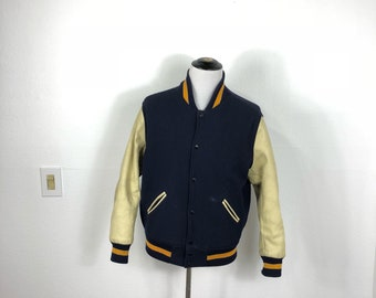 80's vintage varsity lettermans jacket leather sleeve size 46