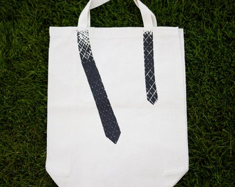 Reusable Canvas Grocery Tote Bag - Skinny Black Tie