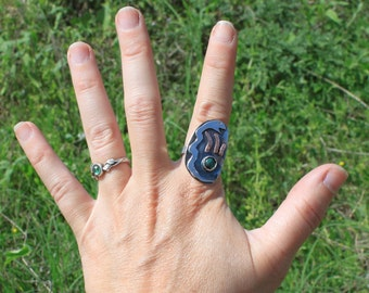 Fire Snake Ring - Sterling Silver - Size 7.5