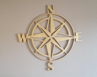 Wood Compass Cutout, Wooden Compass, Large Gold Compass, 3d map, Office Wall Decor Statement Piece
