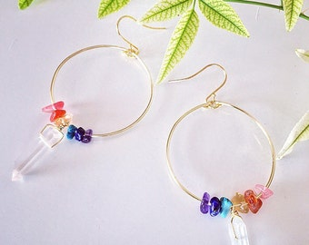Rainbow Gemstone Chakra Earrings. Chakra Earrings. Rainbow Earrings. Gemstone Earrings. Gemstone Hoop Earrings. Chakra Hoop Earrings.
