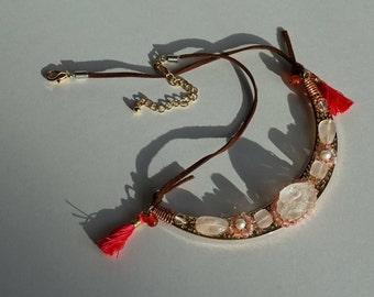 Sparkling Pink Champagne Bib necklace