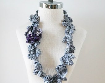 Iris Infinity scarf, Floral Scarf, gray purple iris scarf, Small accent scarf in grey with iris, blossom brooch, perfect any season