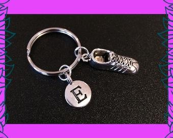 Runner gift, fitness gift, running shoe keychain, trainer key ring, personalised letter charm, gift for her UK