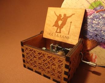 La La Land Wooden Music Box Engraved Handmade Theme Vintage. INDIVIDUALLY CRAFTED BOX®