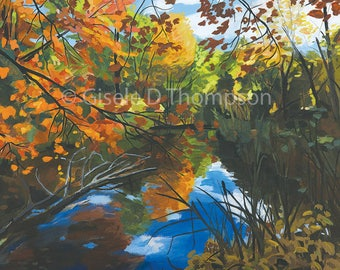 Fall Pond, NH, New 2017, Matted 12x16 print, fits 16x20 frame