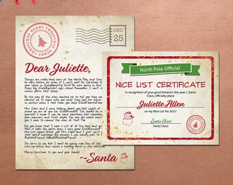 Custom Editable Christmas Letter From Santa Claus and Nice List Certificate Printable, North Pole Letter, Personalized Nice List Certificate