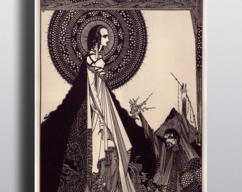 Antique Edgar Allan Poe Harry Clarke Illustration Poster Tales of Mystery Black and White Art Print Horror Gothic Wall Print Obscure