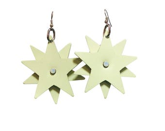 Star Bright Earrings - Glow in the Dark Leather Earrings - Party Earrings with Sliver Plated Earring Fish Hooks