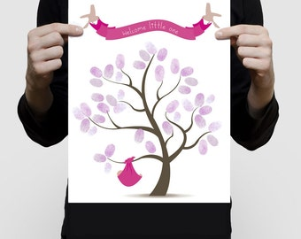 baby shower fingerprint guest book tree PRINTED - new baby girl, nursery art, pink or personalised, custom new baby gift, pink baby shower