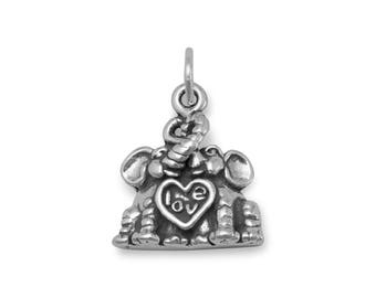 Elephant Charm 925 Sterling Silver Pendant Heart Love Animals