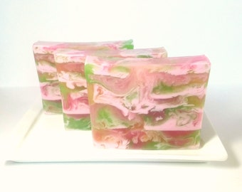 Apple Rose Soap,  Fruit Soap, Floral Soap, Apple Soap, Rose Soap, Valentines Day Soap, Hostess Gift, Shea Butter Soap, Glycerin Soap
