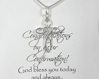 Confirmation Gift Necklace, Sterling Silver Cross Necklace, Baptism Gift, Confirmation Gift, Godmother Gift Necklace, First Communion Gift