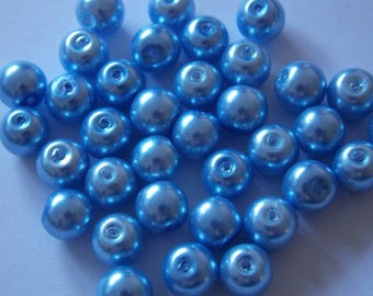 Set of 30 round pearls 8mm blue
