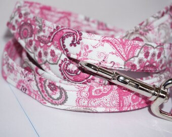 Pink & Grey Paisley Dog Leash