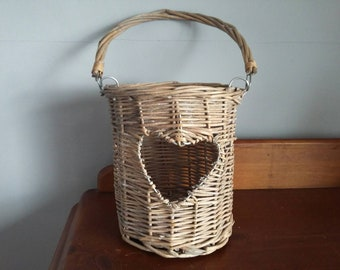 Hanging Basket Planter // Vintage Wicker Basket Hanging // Heart Cutout // Shabby Chic // Country Cottage Decor