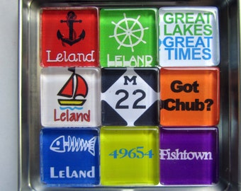 LELAND Michigan Magnets - M22 Manitou Islands Up North Michigan Magnets Set, Leelanau, Sleeping Bear Dunes, Traverse City, Up North, Leland