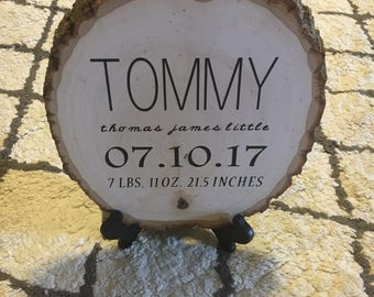 Wood Plank Birth Date Sign