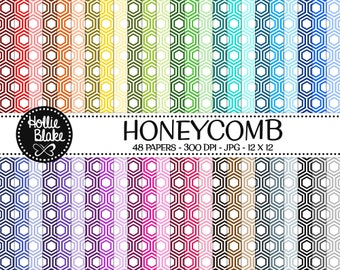 50% off SALE!! 48 HoneyComb Digital Paper • Rainbow Digital Paper • Commercial Use • Instant Download • #HONEYCOMB-102-1