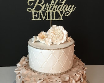 ANY NAME, Happy Birthday Cake Topper, Gold Glitter Personalized Cake Topper, Custom Birthday Cake Topper