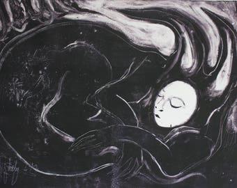 Original fine art, large wall art print, weird art, creature, dark art, sleeping animal, original monotype, black white art, forest spirit