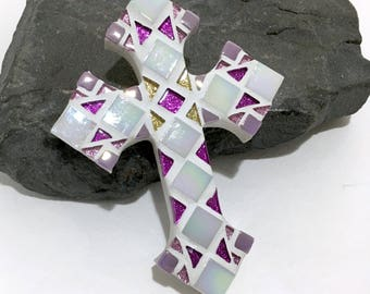 UNIQUE GODDAUGHTER GIFT, Girl Baptism Gift, Lilac Purple with Gold Mosaic Cross, Wall Cross, Decorative Cross, Gift from Godparents
