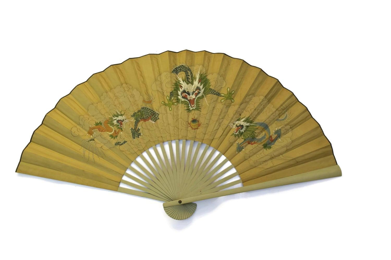 Huge Vintage Japanese Hand Painted Silk Wall Fan. Vintage Dragon Art ...