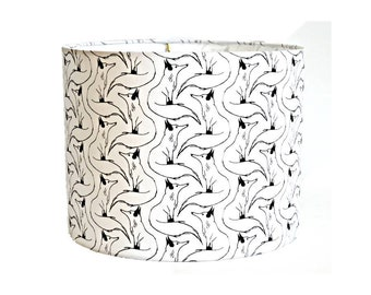 Drum Shade with Fox Sketches in Black on a White Background