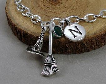 Witch Hat and Broom Charm Bracelet, Halloween Witch's Broom Bracelet, Initial and Birthstone Bracelet, Silver Plated Link Charm Bracelet