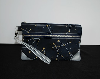 Night Sky Constellations Double Zip Pouch Wristlet Clutch