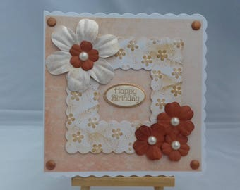 Female birthday card - Frame and flowers