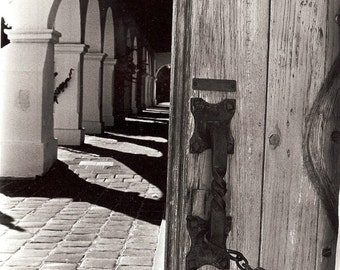 Mission Hallway depth door 11x14 Black & white rustic moody travel spanish california