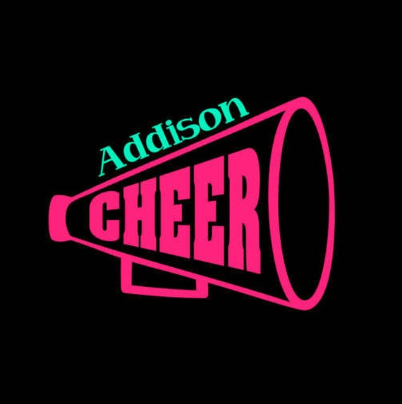 Free Shipping-Cheerleader decal, megaphone decal, cheer sticker, pom poms, gymnastics, little girl decal, car decal, school, binder