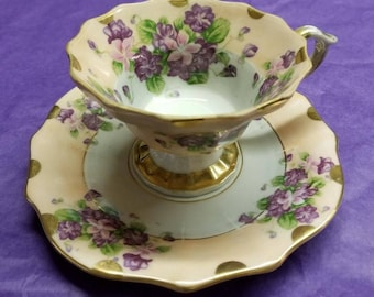Tilso Vintage teacup and saucer Pale Pink with Stargazer lilies and purple flowers and gold trim, Hand painted cup and saucer scalloped edge